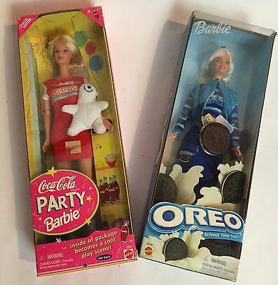 Lot of 2 Mattel Barbie dolls ~ Coca Cola Party Barbie & Oreo School Time Fun
