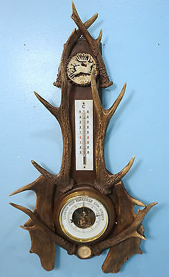 Antique German Black Forest Thermometer Barometer Large Stag Antler Rosette