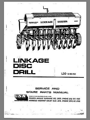 Connor shea linkage disc drill manual, parts list 10,14, 18 disc