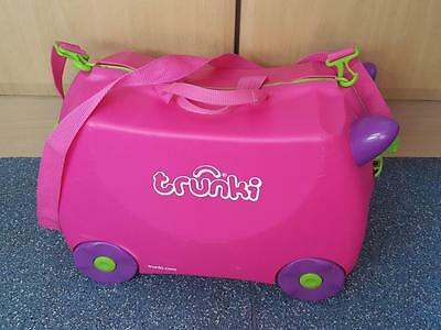 Trunki Ride-on Suitcase - PINK strap and key Children's Flight Cabin Bag