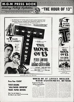 THE HOUR OF 13 pressbook, Peter Lawford, Dawn Addams, Roland Culver