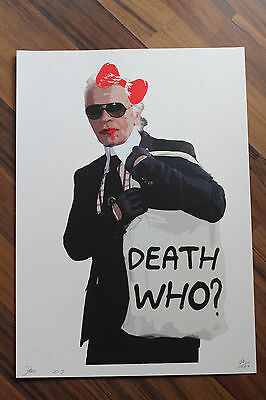 """DEATH NYC Original Print """"Lagerfeld/Death Who?"""" Signed & Numbered"""