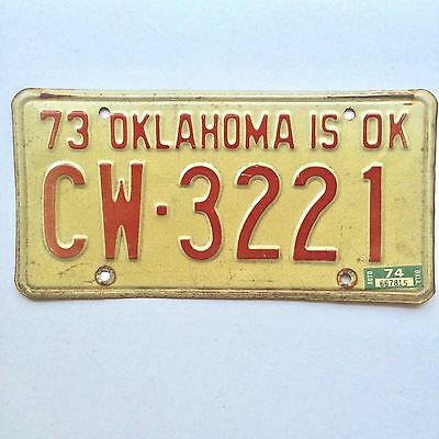 Oklahoma 1973 1974 Old License Plate Garage Vtg Car Auto Tag IS OK Man Cave