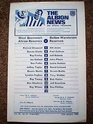 WEST BROMWICH ALBION Res v BOLTON WANDERERS Reserve 1967 1968 FOOTBALL PROGRAMME