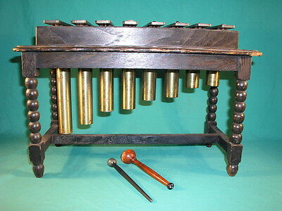 Antique 8 Note Oak Framed Brass Xylophone with Pipe Resonators