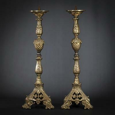 "20"" Large Pair of Baroque Gilded Bronze Candlesticks Vintage Candle Holders"
