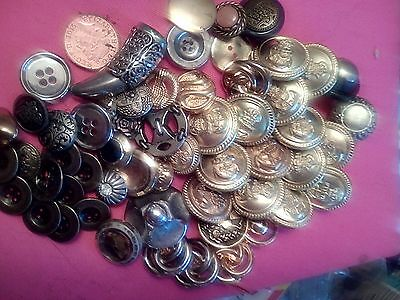 Vintage   metal / metal look button collection 50+