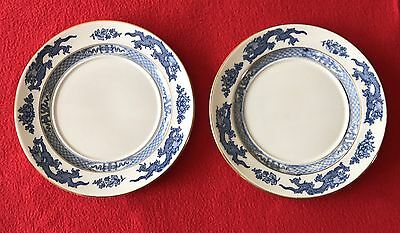 Antique Booths Silicon China England Dragon Blue Gold Trim Lot Of 2 Small Plates