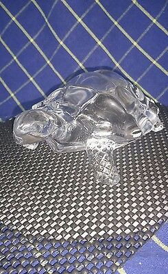 A Scarce Vintage HandCrafted D'Arques Crystal Glass TortoiseTurtle Figurine~ExC