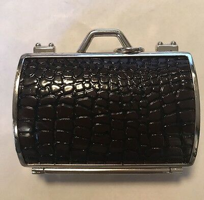 Judith Leiber For Neiman Marcus Faux Crocodile Skin  Pill Box Case Bag