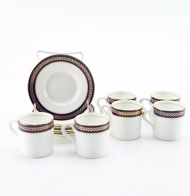 "Coalport ""Blue Wheat"" Bone China England Coffee Mug Cup Demitasse Saucer Set (6)"