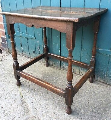 Antique Georgian Carved Oak Hall Side Occasional Table