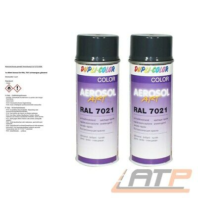 2x 400ml DUPLI COLOR AEROSOL ART RAL 7021 SCHWARZGRAU LACK SPRAY 741296 32168163