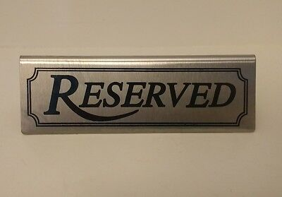 "Reserved Table Sign Tent - Lot of 6 Stainless Steel 4.75x1.5"" - Party Restaurant"