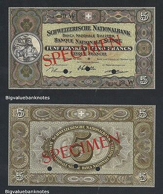 B.V.B Pick 11s Switzerland 5 Francs 1936 UNC. Best price at Ebay. Specimen.