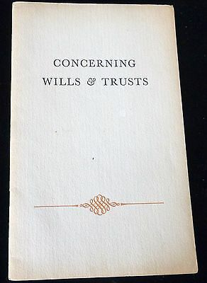 CONCERNING WILLS & TRUSTS 1940's VINTAGE PAMPHLET - ROCKLAND BANK OF BOSTON