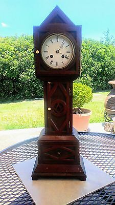 Vintage/Antique FREEMASON Table Top Grandfather Clock w/Japy Freres Movement