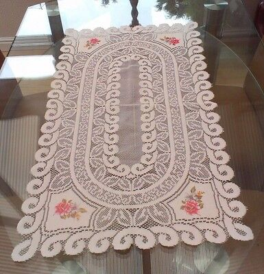 Vintage Style White Floral Machine Lace Table Runner  ~ Coloured Flowers