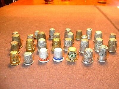 Lot of 28 Antique & Vintage Sewing Thimbles