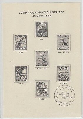 #02 Great Britain Lundy Island Puffin Stamp 1953 Coronation Sheet Fine Used