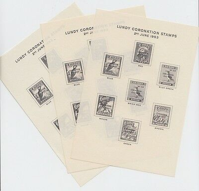 #01 Great Britain Lundy Island Puffin Stamp 1953 Coronation Sheet 3 TYPES