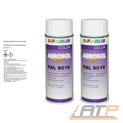 2x 400ml DUPLI COLOR AEROSOL ART RAL 9016 VERKEHRSWEISS LACK SPRAY 741449