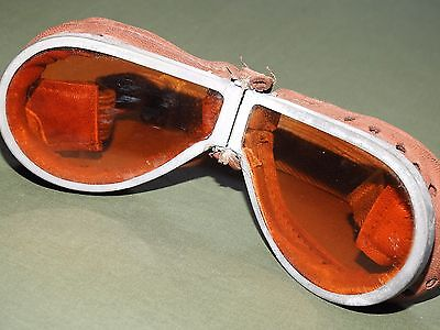 British WW1 RFC ROYAL FLYING CORPS PILOT FLIGHT GOGGLES + CASE Vtg EXC RARE