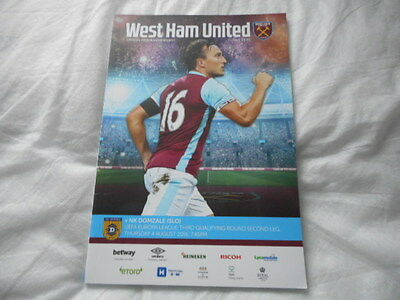 PROGRAMME WEST HAM UNITED v NK DOMZALE 04.8.16 MINT FIRST GAME AT LONDON STADIUM