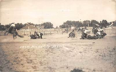 MILES CITY, MT, RODEO ACTION, MEN & HORSES, HOLMBOE REAL PHOTO PC, used 1913