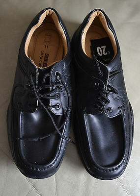 Mens George Black Leather Shoes Size UK 11 New