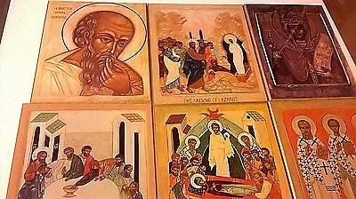 Orthodox/Russian Religious Plaques Painted Wood Icons Saints Bible (Set of 8)