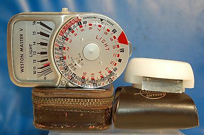 WESTON-MASTER V LIGHT METER with INVERCONE + CASE/STRAP NICE CONDITION