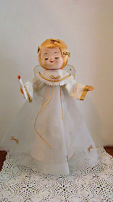 Vtg Christmas Revolving Musical Angel Holding Candle Silent Night Made In Japan