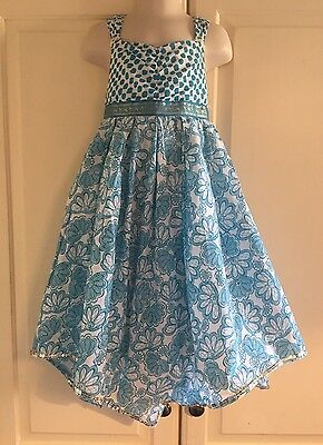 Girls MONSOON Turquoise & White Floral Summer Occasion Party Dress Age 5-6 Years