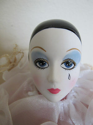 "Schmid Vintage Pierrot Love Clown Porcelain Doll 22"" tall 1981 Michel Oks w/ Tag"