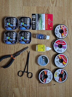 Fly fishing accessories, flies, fly boxes, leader, backing, etc