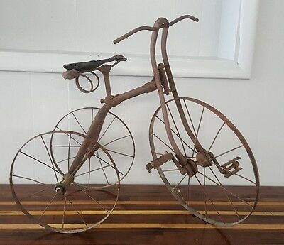 Antique Childs Early Victorian Metal Tricycle 1800s primitive cast iron leather