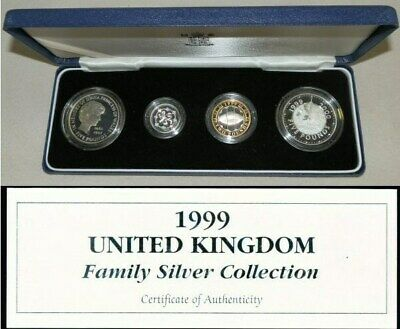1999 Silver Great Britain Family 4 Coin Proof Collection Only 500 Minted