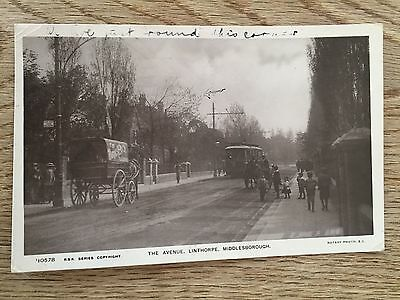 Postcard Horse Cart tram The Avenue Linthorpe Middlesbrough RSK Series Rotary RP