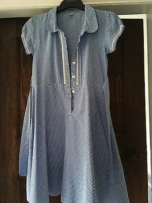Girls Blue Gingham School Summer Dress Age 11