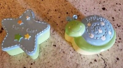 Set Pair Baby Baby's First Tooth & Baby's First Curl Trinket Boxes Snail Star