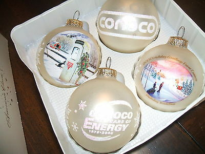 Conoco Oil Company  Set of Christmas Ornaments  from 2000  4 of them with box