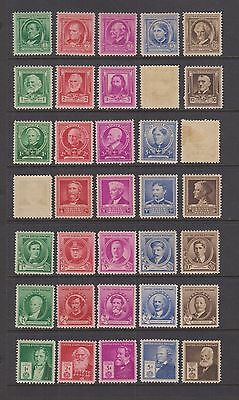 United States #859-893 MNH (except 3 stamps) 1940 FAMOUS AMERICANS