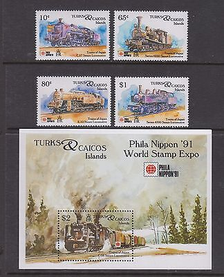 Turks & Caicos Islands #944 #947 #948 #949 #952 Trains Of Japan Mnh