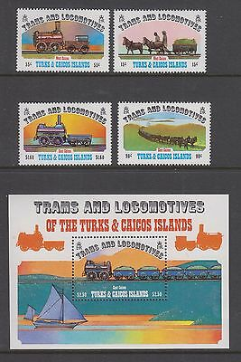 TURKS & CAICOS ISLANDS #550-554 MNH 1983 Trains & Locomotives, w/ Souvenir Sheet