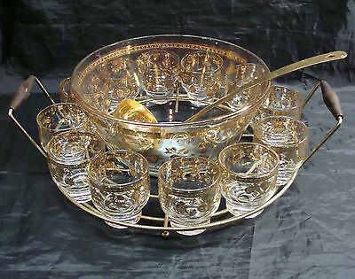 Rare! Vintage Culver 22Kt Gold Chantilly Punch Bowl 12 Glasses Ladle Carry Caddy