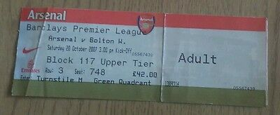 Arsenal v Bolton Wanderers 2007-2008 BPL Ticket stub The Gunners The Emirates