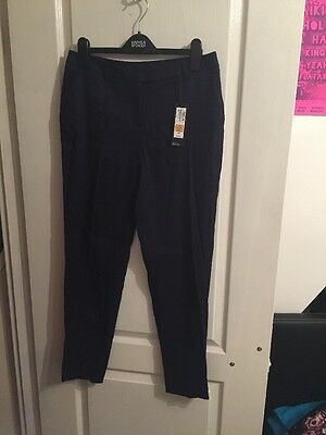 Marks And Spencer's Autograph Linen Blend Tapered Leg Trousers Size 10 Long BNWT