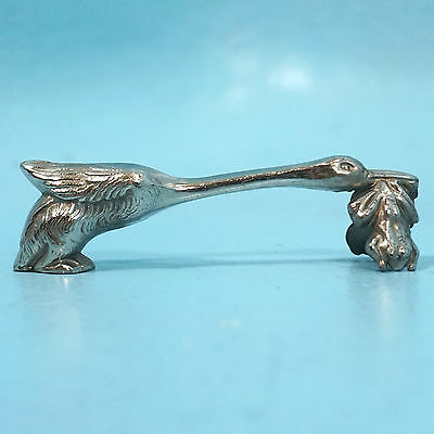 Antique Art Deco French Silver Knife Rest Goose? Stork? Bird Frogs Alsace c1920s
