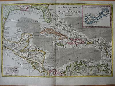1780s - BONNE - Map WEST INDIES  CUBA  Gulf of Mexico  FLORIDA Inset BERMUDA Is